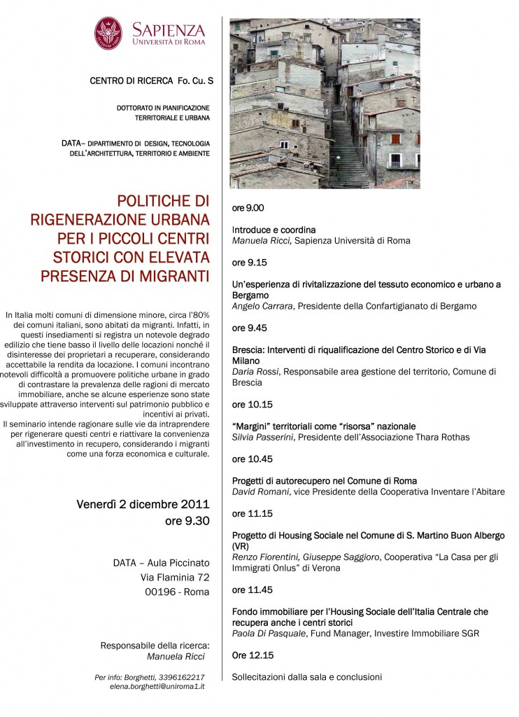 locandina seminario sapienza roma